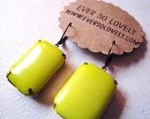 Neon Yellow Vintage Lemon Glass Large Rectangle brass earrings