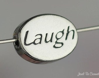 Sterling Silver Laugh Bead Laughter Happiness Theme Oval Solid .925
