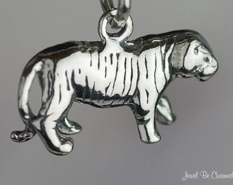 Sterling Silver Tiger Charm Bengal Tigers or Mascot Solid 3D .925