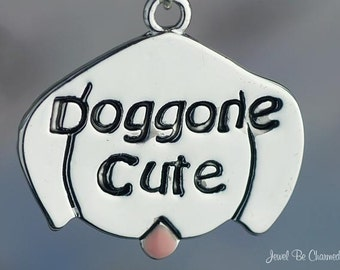 Silver Plated Dog Charm Doggone Cute Puppy Face with Pink Tongue