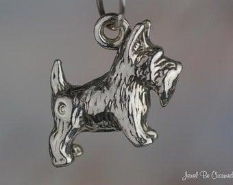 Scottish Terrier Charm Sterling Silver Scottie Scotty Dog Small .925