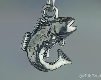 Popular items for bass charms on etsy for Silver bass fish