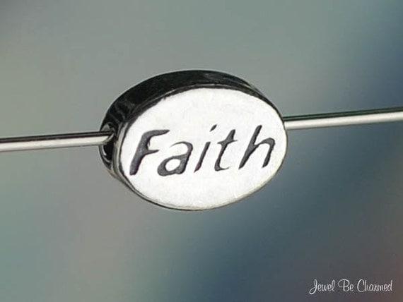 Faith Bead Miniature Sterling Silver Word Faithful Religion Religious