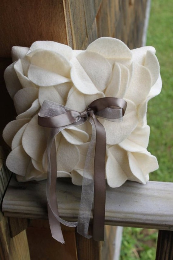 Petal Ring Bearer Pillow with double ribbon