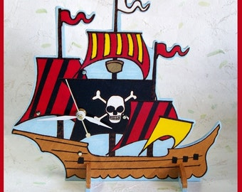 Pirate ship Table Clock