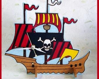 Pirate ship Table Clock