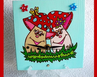 Wall Clock Mushroom Sister's with included Stand