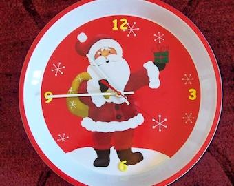 Christmas Santa Wall Clock Yellow Numbers
