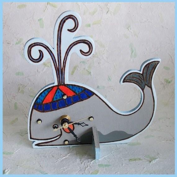 Childrens Desk Clock Whale Design