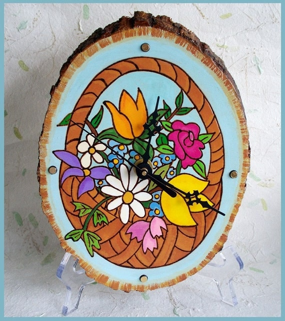 Wood Wall Clock Oval Floral Basket