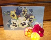 Vintage Pansy Postcard  - White Yellow, Blue Flowers