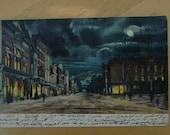 Postcard Main St Bradford, Pennsylvania - Dark Night, Moody  - Night Scene - Gothic Look