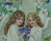 Easter Postcard Angel Girls with Violets and White Flowers and Cross