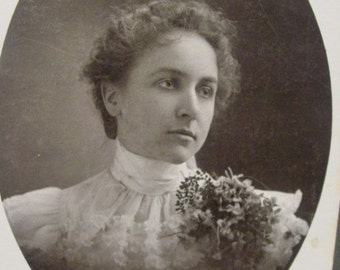 Cabinet Photo California Woman in White Lace Blouse with Flower Corsage - Antique Photo