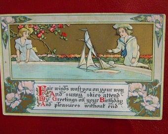 Embossed Postcard Girl and Boy with Toy Sailboat and Pink Poppies