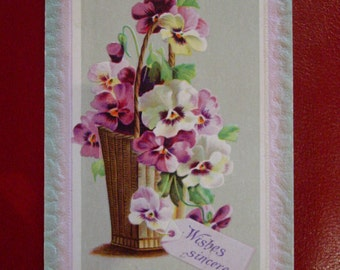 Antique Postcard Rustic Basket of Purple and White Pansies
