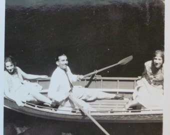 Vintage Photo  Rowboat with  Handsome  Dapper Man with Mustache and Women - Summer on the River