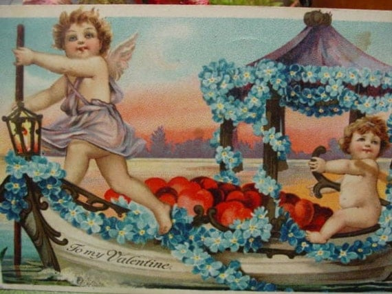 Valentine Postcard Cherub Cupid, Boat , Forget Me Nots , Hearts