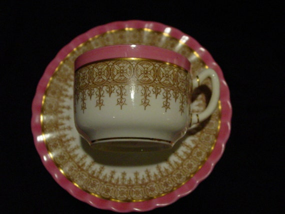 Royal Worcester Tea Cup and Saucer  - Pink with Brown Lace and Gold Rim