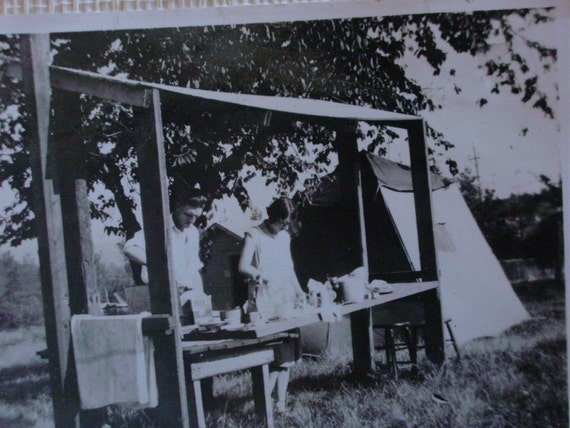 Antique Photo Man and Woman Tent Camping