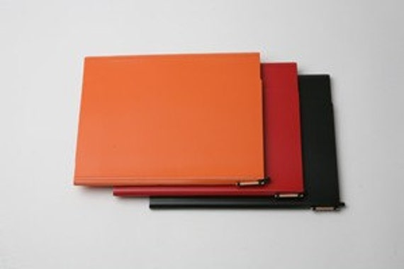 Large Eco-Chic Leather Notebooks in bright colors - from New, Unused, Recycled Leather, includes tablet and pen