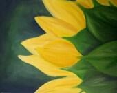 Sunflower Oil Painting -- Sunflower Art -- Sunflower Painting -- Sunflower Decor -- Sunflower -- Flower Art -- Country Home Decor -- Yellow