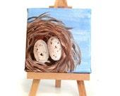 Bird Nest Painting -- Mini Painting -- Bird Nest Art -- Bird Nest -- Bird Nest Decor -- Bird Decor --Original Painting -- Bird Art -- Bird