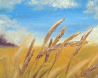 Wheat Field Painting -- Fine Art Print -- Wheat Field Art -- Country Art -- Country Painting -- Farmhouse Decor -- Fall Art -- Fall Painting