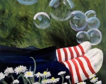 Fine Art Print -- Modern Painting -- Whimsical Art -- Hipster Art -- Outdoor Painting -- Daisy Art -- Daisy Painting -- Modern Art