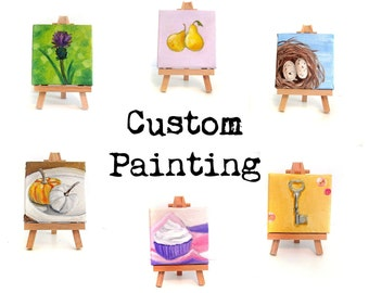 Custom Painting with Easel - Mini Art Comission Personalized Custom Art Mini Painting Home Decor