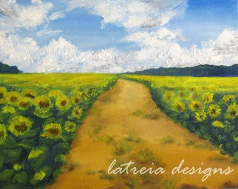 Sunflower Field Painting -- Fine Art Print -- Sunflower Art -- Sunflower Painting -- Art Print -- Painting Print -- Country Art -- Farmhouse