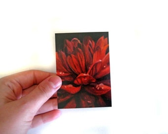 Red Flower ACEO Print - Fine Art Print of Painting - ACEO Painting - Mini Print - Red Flower - Red Decor - Oil Painting Print - ACEO