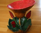 Gourd and Glass Flower Sculpture, Jewelry Dish, Red Poppy Blossom, OOAK