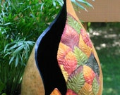 Rustic Gourd Vase, Nature's Colorful Glory Leaf Vase