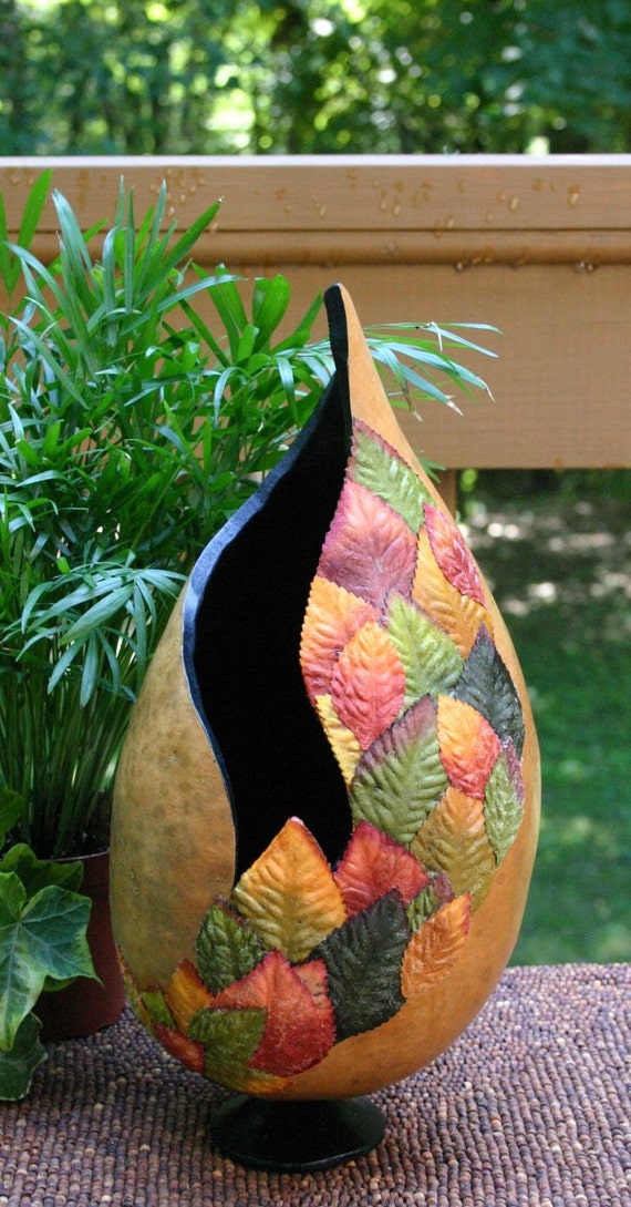 Rustic Gourd Vase, Nature's Colorful Glory Leaf Vase