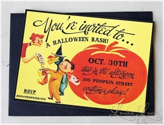 Items similar to halloween party invitation vintage for Vintage halloween party invitations