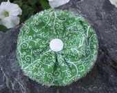 Green and White Freyed Flower Clip