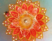 Glass Plate Flower Garden Decor For Your Summer Garden or Potted Plant in Sunshine Yellow