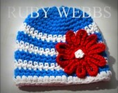 Toddler Girls Hat in Bayside Blue, Bright White, and Tomato Red- toddlers, girls, and ladies