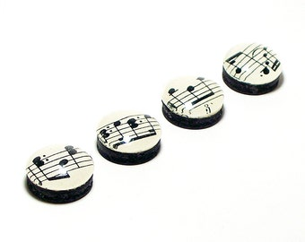 Music Note Magnets. Set of Four. Made With Vintage Sheet Music. Super Strong Magnets. Music Magnet. Refrigerator Magnets. Kitchen Magnets.