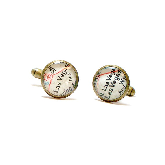 CUSTOM Vintage Map Cufflinks, You Select two Locations. Anywhere In The World.