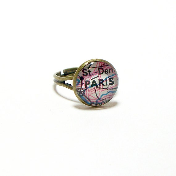Paris, France 1989 Vintage Map Ring