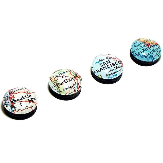 Cities of the US Map Magnets