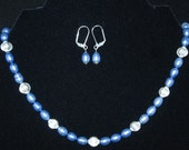 Blue baroque pearl earring and necklace set.