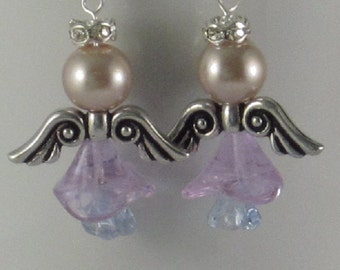 Angel earrings - silver, lavender and baby blue