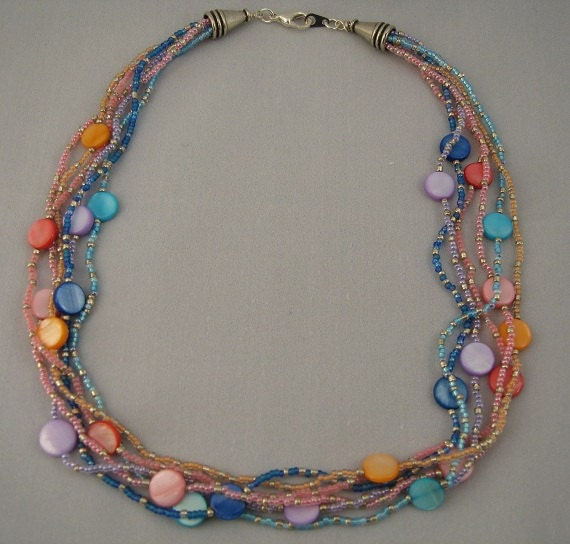 Colorful pastel mother of pearl and seed bead multi-strand necklace
