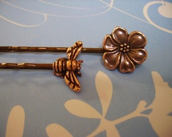 Honey Bee and Flower Bobby Pins