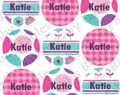 Personalized Waterproof Labels Waterproof Stickers Name Label Dishwasher Safe Daycare Label School Label - Flowers & Dots