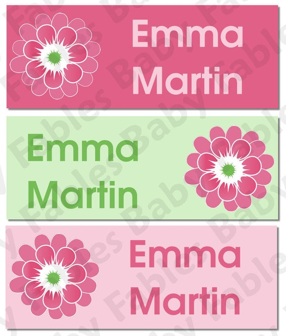 Personalized Waterproof Labels Waterproof Stickers Name Label Dishwasher Safe Daycare Label School Label - Pink Green Flowers, 30 piece set