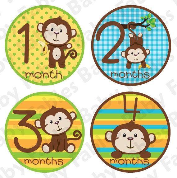 Baby month Stickers Baby Month Stickers Baby Boy Month Stickers Monthly Photo Stickers Monthly Milestone Stickers Monkey Month Stickers